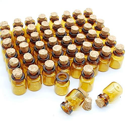 Zeagro 50pcs 0.6ml Flasche Glas in Miniatur stark und Dunkelbraun mit Korken Glasflaschen kleine Glasflaschen Ideal für Schmuck die Änderung der Kunst, Kunst in Miniatur