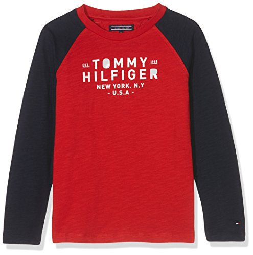 Tommy Hilfiger Jungen Langarmshirt Ame Colorblock CN Tee L/S, Rot (Salsa 697), 92 (Tee 92)