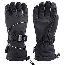 Unigear Gants de Ski, Gants d'Hiver Écran Tactile Chauds Étanches Protègent du Vent pour Ski Snowboard Cyclisme Vélo et Moto (L, Noir)