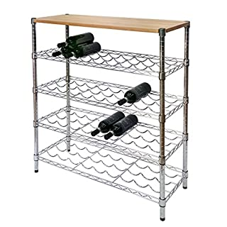 Archimede Cellar With Solid Top Cm 35 X 90 X H. 102 Chrome Wine Rack