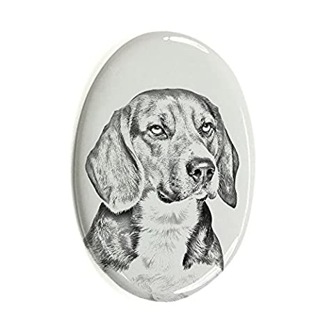 Beagle, oval gravestone from ceramic tile with an image of a dog