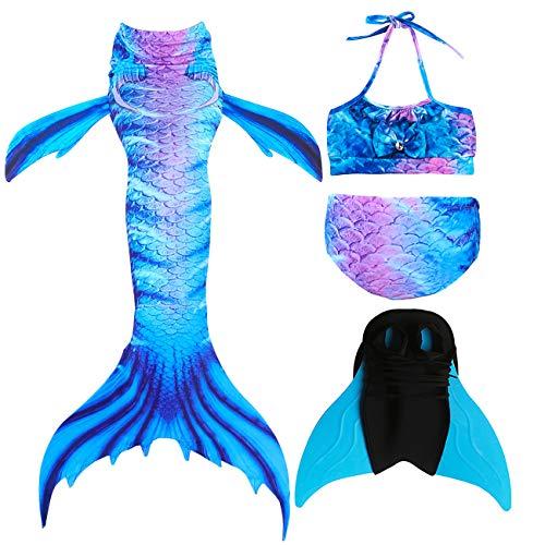 GNFUN Meerjungfrau Schwanz mit Meerjungfrau Badeanzug Schwanzflosse Zum Schwimmen Kostüm Für Kinder Mädchen Bikini Set und Monoflosse, 4 Stück Set, Blau Lila, - H2o Meerjungfrau Kostüm