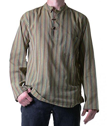 Fischerhemd Kurtha Gestreift Überzieher Hemd Poncho Mittelalter Nepal Grün