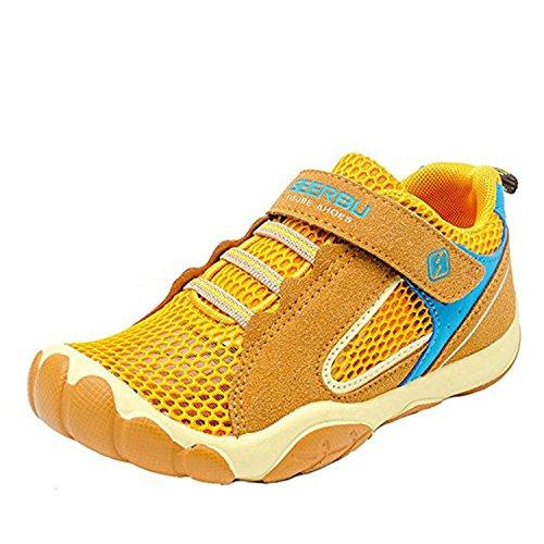 Kinderschuhe Mesh Sportschuhe Ultraleicht Atmungsaktiv Kinder Schuhe Turnschuhe Klettverschluss Low-Top Sneakers Laufen Schuhe Laufschuhe Outdoor Trekking Wanderschuhe für Mädchen Jungen Gelb 40