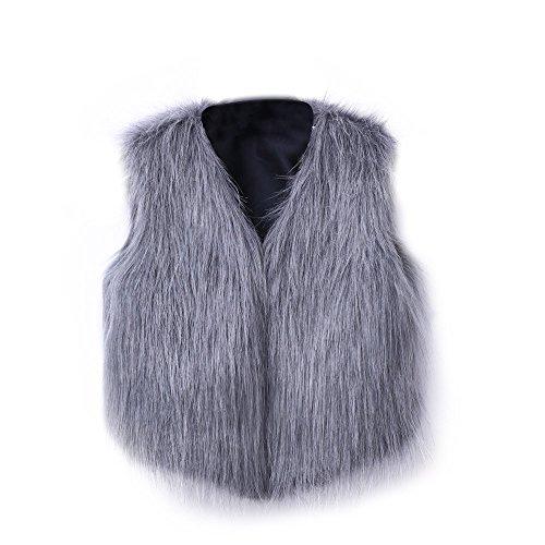 (iHENGH Vorweihnachtliche Karnevalsaktion Damen Herbst Winter Bequem Lässig Mode Frauen Warm Faux Fur Sleeveless Weste Mantel V Kragen Weste Jacke Outwear)