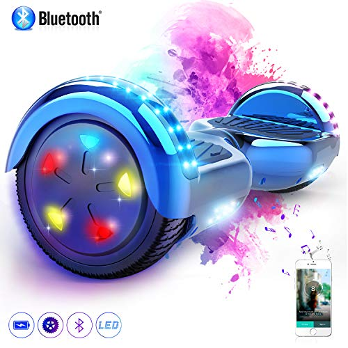 COLORWAY 6,5 Zoll Hover Scooter Board Elektro Scooter Smart Scooter Self Balance Board mit Bluetooth Lautsprecher LED Lichter