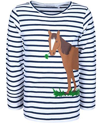 zoolaboo Langarmshirt Pferd mit Klee, Gestreift in Weiß/Dunkelblau, Größe 116,Mädchen (Langarm-pferde Mädchen)