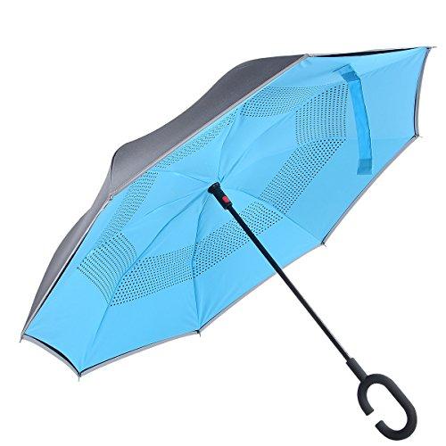 atree auto open antivento Reverse doppio strato Inverted ombrello e autoportante Inside Out ombrello con mani libere a maniglia, Miglior uso per auto, Blue