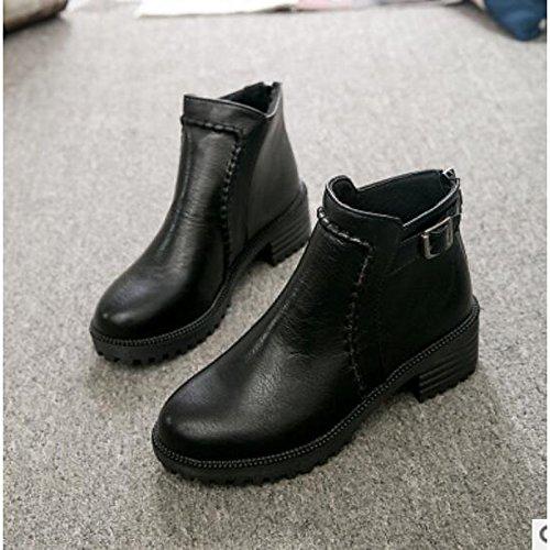 HSXZ Scarpe donna pu inverno Comfort stivali Chunky tallone punta tonda punta chiusa Babbucce/stivaletti di abbigliamento casual marrone chiaro nero Black