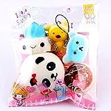 Slow Rising Squishies Jumbo, Toamen Medium Mini Soft Squishy Bread Toys Key Cell Phone Pendant Strap Gift (5 Pcs)