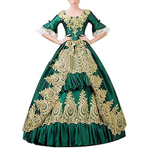Nuoqi Damen Viktorianisches Kleid mit Underskirt Mittelalter Palace Royal Masquerade Partei Kostüm (grün, maßgeschneiderte) (Maßgeschneiderte Viktorianischen Kostüm)