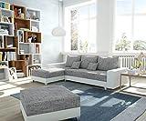 DELIFE Couch Panama Hellgrau Weiss Longchair variabel mit Hocker Ecksofa Modular