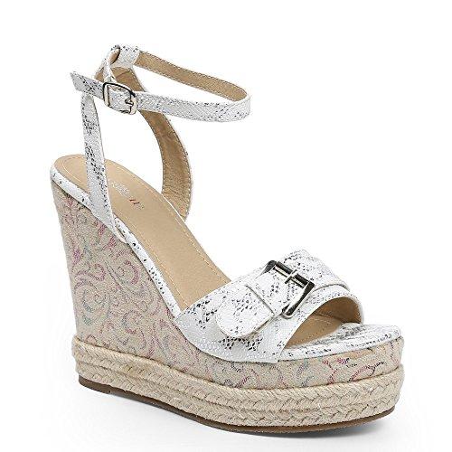 Ideal Shoes–kompensiert Sandale mit Bride bedruckt Reptile Glitterlack dayena Weiß - weiß