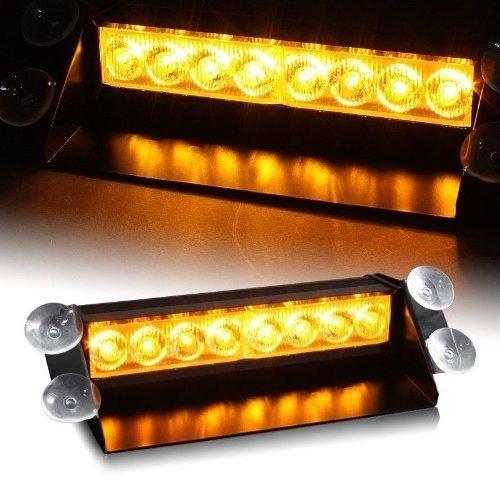 8 LED Ambre Jaune d'urgence de voiture Strobe Flash Light avertissement Dash Barre