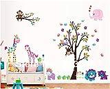 Neue 2 Stück Große Wandaufkleber Bunte Cartoon Tier Lion Zebra Giraffe Affe Eule Baum Abziehbilder