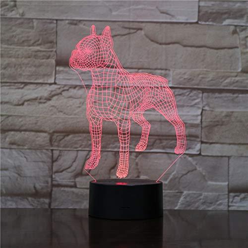American Bulldog Dog, Nachtlicht, 3D Illusion Nachtlampe, 16 Farben, Acry Panel, LED, Remote switch Touch-Schalter, beste Geschenk, Ferienhaus, Dekoration -