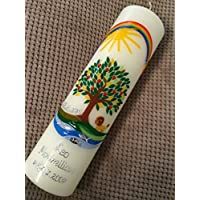 Taufkerze mit Lebensbaum und Löwe - inkl. Beschriftung von Babyprince® - handgearbeitete Wachsverzierungen - !!! keine Folie !!!