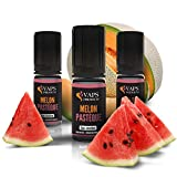 Vaps'Premium - E-liquide Melon Pastèque - 3 x Flacons de 10 ml - 00 mg - Sans nicotine ni tabac