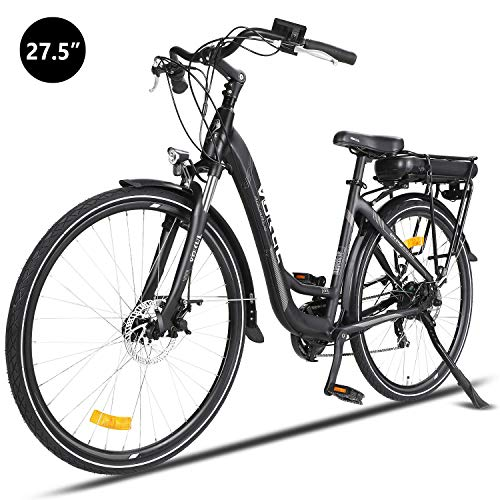 Vokul 36V, 27,5 Zoll E-MTB, Citybike E-Bike, 250W Das-Kit Heckmotor, 13Ah 468Wh Akku mit Li-Ion Zellen, Mechanische Tektro Scheibenbremsen, 7 Gang Shimano Gangschaltung (27.5