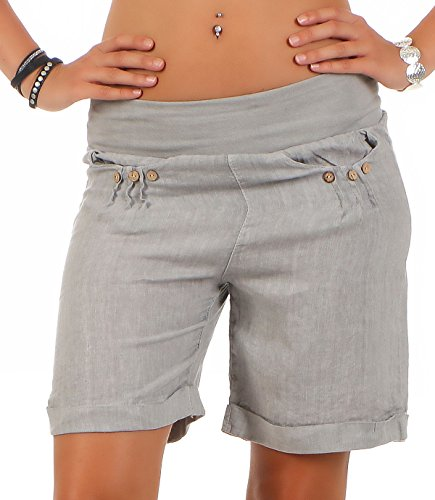 Malito Damen Bermuda aus Leinen | lässige Kurze Hose | Shorts für den Strand | Pants - Hotpants 6822 (hellgrau, XL)