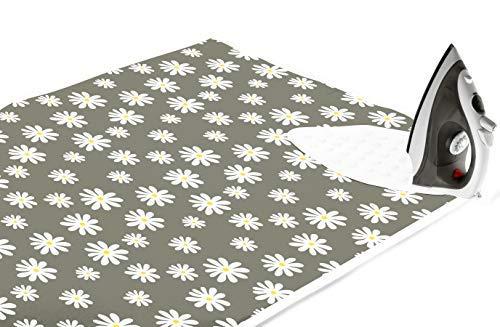 Encasa Homes Bügelmatte (Groß 120 x 70 cm) mit 3 mm Polsterung & Silikonbügel für Dampfbügeln auf Tisch oder Bett - Hitzebeständige Tischbügeldecke, bugeltischauflage bugelunterlage - Daisy Grey