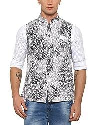 SHOWOFF Mens Cotton Sleeveless Slim Fit Printed Grey Nehru Jacket