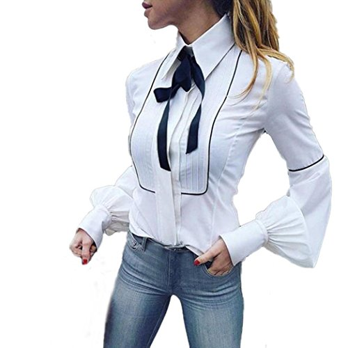 KaloryWee Women Basic Buttons Bow Tie Long Sleeve Office Work White T-Shirt Blouse Tops