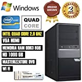 PC DESKTOP INTEL QUAD CORE RAM 8GB HD1TB DVD/WIFI/HDMI FISSO COMPLETO ASSEMBLATO CON LICENZA WINDOWS 7 pro Talloncino con seriale