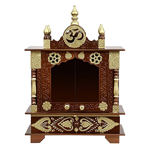 Fasherati Wooden Home Temple with Doors (Outer Dimension 18 X 12 X 24 (WXDXH) inch), Rajasthani Art (in Side Free Gifts Puja thali, Poja Books,God Pics.LED Lights)