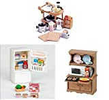 Three Different Sylvanian Families Sets - Kitchen Theme - Microwave Cabinet, Refrigerator and Kitchen Appliances
