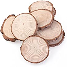 ROSENICE Registro de madera rodajas de discos para bricolaje manualidades centros de mesa de boda 10pcs 7-9CM (Color madera)
