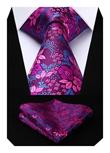 Hisdern Extra lange Blumen Paisley Krawatte Taschentuch Herren Krawatte & Einstecktuch Set Pink und Blau Lange Krawatten