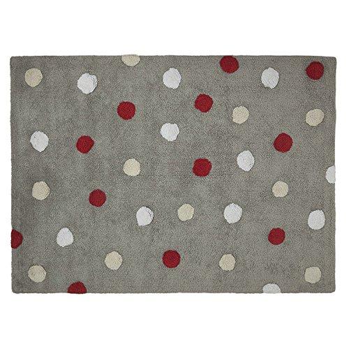 Lorena Canals Topos Tricolor Alfombra lavable (gris/rojo)
