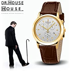 House M.D. 7171 Women's Analog Quartz Watch with Chronograph, Silver Dial, Brown Stra