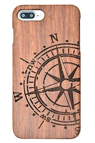 RoseFlower® iPhone 8 Plus (13,94 cm (5,5 Zoll)) Holzhülle - Palisander mit PC - NatürlicheHandgemachteBambus / Holz Schutzhülle Palisander-Kompass
