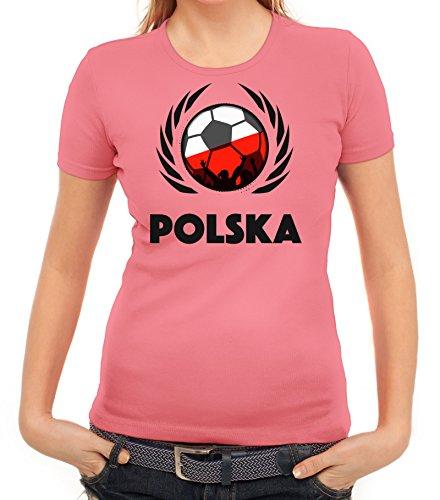 ShirtStreet Polska Poland Soccer Fussball WM Fanfest Gruppen Fan Wappen Damen T-Shirt Fußball Polen Rosa