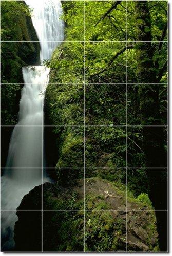 CASCADAS FOTO DUCHA TILE MURAL 29  48X 182 88CM CON (24) 12X 12AZULEJOS DE CERAMICA