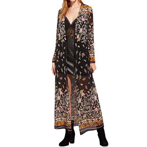 Strickjacken, Bestop Weibliche Frauen Lange Ärmel Kimono Strickjacke Blumendruck Mantel Vertuschen Tops (L, Schwarz) (Länge Schwarz Cape)