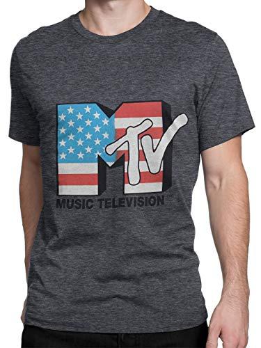 MTV Herren T-Shirt Grau X-Large (80er Jahre Kleiderschrank)