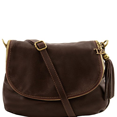 Tuscany Leather TL Bag - Borsa morbida a tracolla con nappa Nero Borse donna a tracolla Testa di Moro