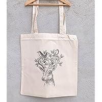 """Tote Bag """"Cerf aux oiseaux"""" - sac shopping - sac coton - sac bandoulière - sac de filles - hiboux - chouettes"""