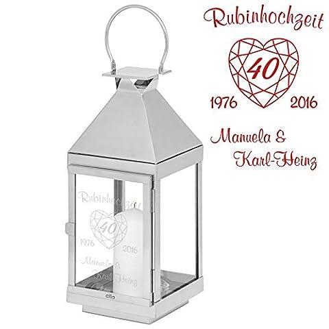 Geschenke 24: Laterne Rubinhochzeit - 45 cm - gravierte Laterne - originelle Idee zum 40. Hochzeitstag - Laterne mit (Geschenke Für Ehe-paare)