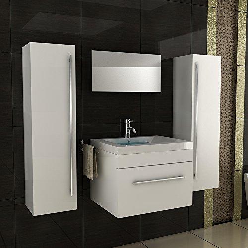 Badmöbel SET Waschbecken Mineralguss Becken Unterschrank Hochglanz weiß Zwei Hochschränke BAD Badezimmer Set