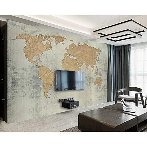Meaosy Tapete Kundenspezifische Fototapetenwandbild Antike Zement-Wand-Retro- Weltkarte-Hintergrundwandtapete Für Wände 3 D-400X280cm