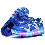 Licy Life-UK Unisex Enfants Chaussures de Multisports Outdoor avec roulettes Doubles Bouton Poussoir Ajustable Inline Skates Baskets Course à Pied Sneakers pour Fille Garçon (34 EU, Noir-WS)