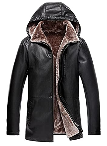 Men's Winter plus thick velvet leather jacket coat Lambskin Leather