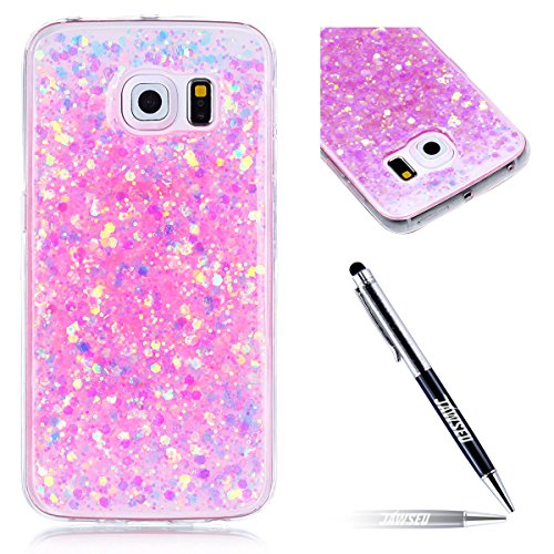 Galaxy S6 Edge Custodia, Cover per Samsung Galaxy S6 Edge, Per Samsung Galaxy S6 Edge G925 Custodia Silicone, JAWSEU Moda Stile Lusso Cristallo di Bling Brillante Sparkle Glitter Custodia per Samsung  Bling Rosa