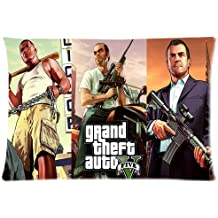 Decorative Linen Throw Pillowcase For Sofa Grand Theft Auto V Hot Game GTA5 Zippered Pillow case For Bedroom 20x30in