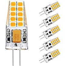 Ascher 5 X G4 3W Bombilla lámpara LED,30W Igualdad A,300 Lumen,Blanco Cálido 2900K, AC/DC 12V ,Ángulo de visión 360°