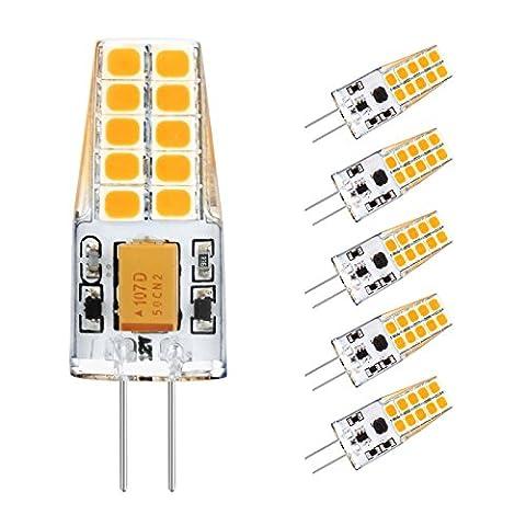 G4 LED, Ascher 5er Pack G4 LED Birnen, 3W, 20 X 2835 SMD LED, Ersetzt 30W Halogenlampen, 300LM, Warmweiß,12VDC/AC, 360°Abstrahlwinkel LED Lampen